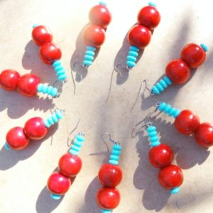Renasi Earrings Red & Blue
