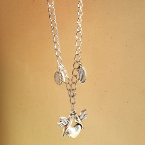 Ladies Necklace with Two Doves on Heart and Love Charm