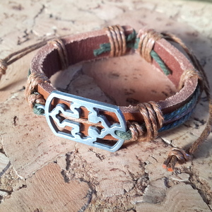 Leather Bracelet Style 10 - Large Cross
