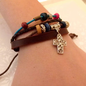 Leather Bracelet Style 3 Small Square Cross Brown