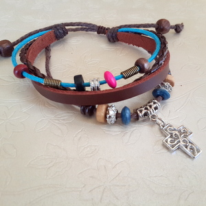 Leather Bracelet Style 3 - Small Square Cross Brown