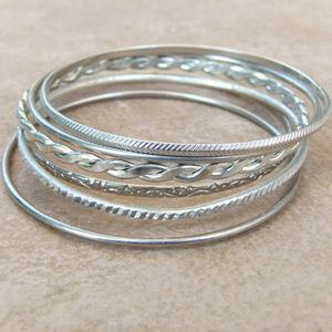 6Pc Ladies Bangle in Silver