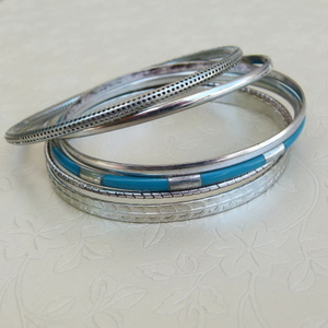 6Pc Ladies Bangle with Blue