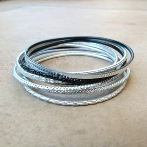 9pc Ladies Bangle Set in Silver & Black