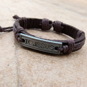 Leather Bracelet Style 1 I Love Jesus Brown LIL209 R80
