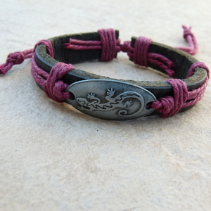 Leather Bracelet Style 7 Gecko with Red Cord
