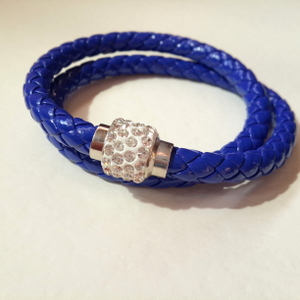 Blue Double Wrap Bracelet with Magnetic Clasp