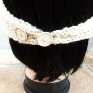 Cream Knitted Headband with 2  Button Detail