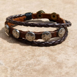 Genuine Leather Bracelet with Stars