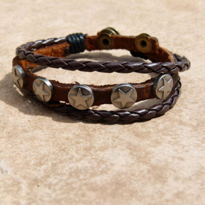 Genuine Leather Bracelet with Stars