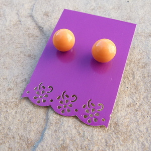 Large Orange Ball Stud Earrings