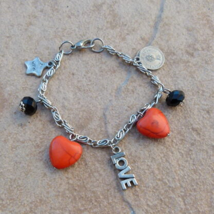 Orange Hearts & Black Chinese Crystal Charm Bracelet