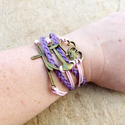 Pink & Purple Multi Strand Bracelet with Cross & Anchor