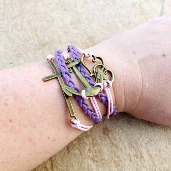 Pink & Purple Multi Strand Bracelet with Cross & Anchor