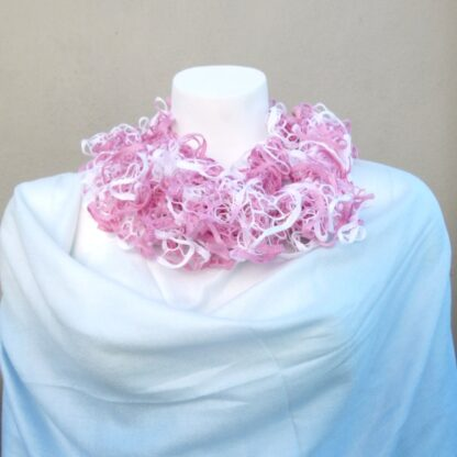 Pink & White Knitted Scarf (Handmade by Lila) 1
