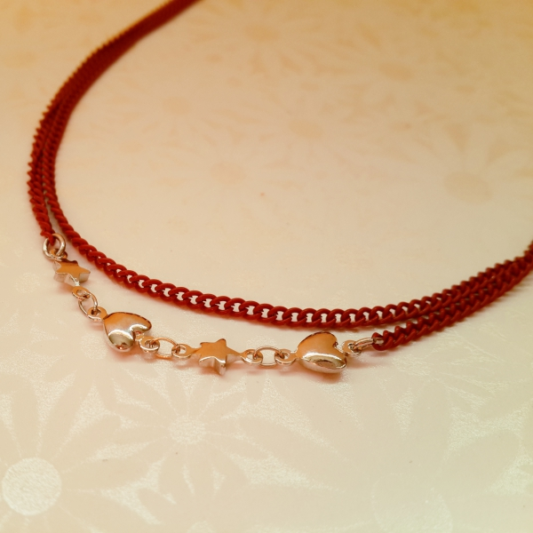 Red Double Strand Heart & Stars Necklace 49cm with extender