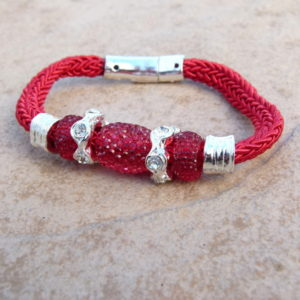 Red Magnetic Clasp Bracelet with Glass & Diamante