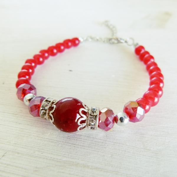 Red Stone & Crystal Bracelet
