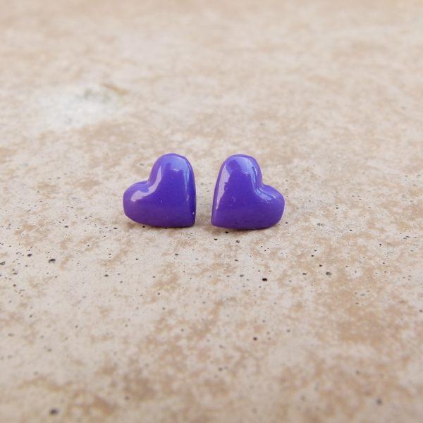 Small Purple Heart Stud Earrings