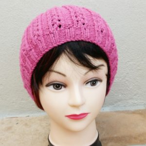 Cerise Knitted Ladies Beanie (Handmade by Lila) Front