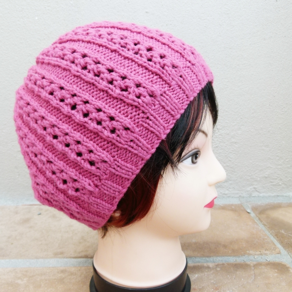 Cerise Knitted Ladies Beanie (Handmade by Lila) Side
