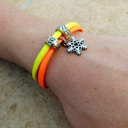 Neon Orange & Yellow Bracelet with Snowflake