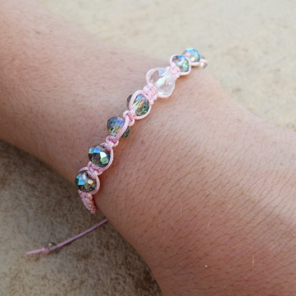 Pink Woven Bracelet with Crystals (Handmade by Lilla-Rose)