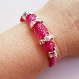 Dark Pink Magnetic Clasp Bracelet with Glass & Diamante
