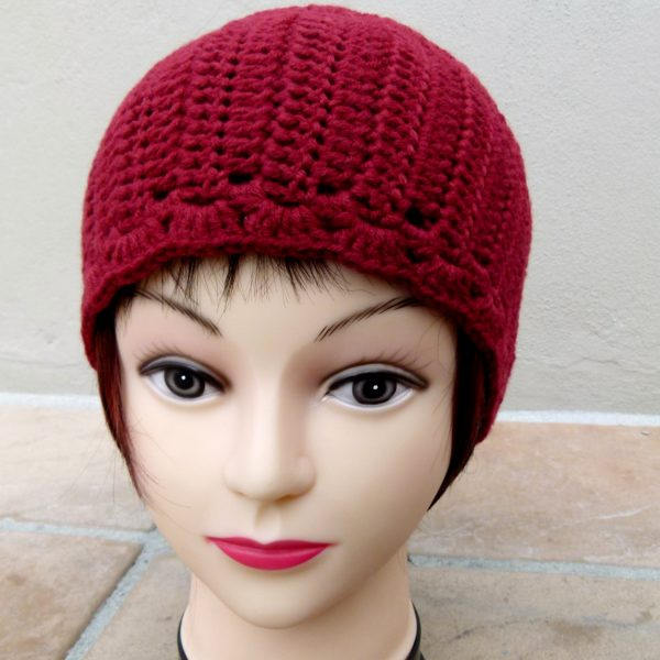 Dark Red Earwarmer (Handmade by Lila) Front