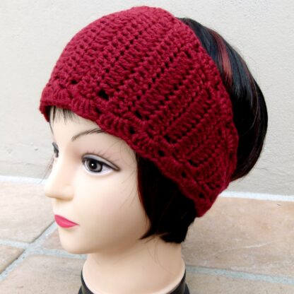 Dark Red Earwarmer (Handmade by Lila) Side