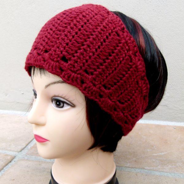Dark Red Earwarmer (Handmade by Lila) Side