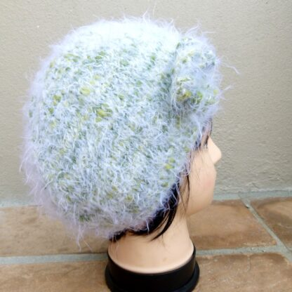 Light Green Knitted Fluffy Hat with Flower (Handmade) Matching Scarf Available www.lillarosegifts.com