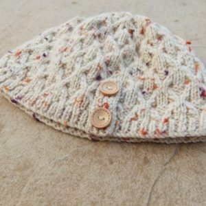 Beige Knitted Beanie with Orange and Purple & Button Detail (Handmade by Lila) Flat