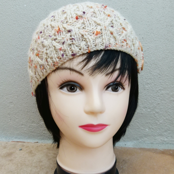 Beige Knitted Beanie with Orange and Purple & Button Detail (Handmade by Lila) Front