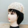 Beige Knitted Beanie with Orange and Purple & Button Detail (Handmade by Lila) Side
