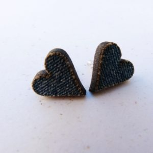 Handmade Lazercut Denim Heart Earrings