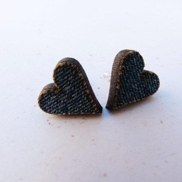 Handmade Lazercut Denim Heart Earrings