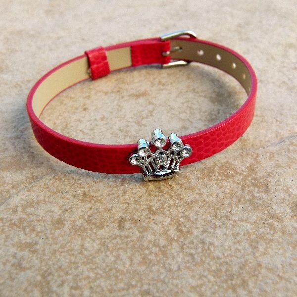 Kiddies Red Buckle Bracelet with Princess Crown