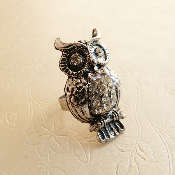 Ladies Adjustable Owl Ring with Diamante