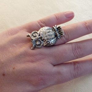 Ladies Adjustable Owl Ring with Diamante