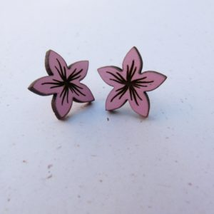 Pink Engraved Flower Earrings 2cm