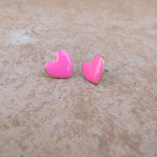 Pink Heart Stud Earrings