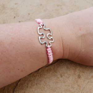 Pink Woven Puzzle Piece Bacelet
