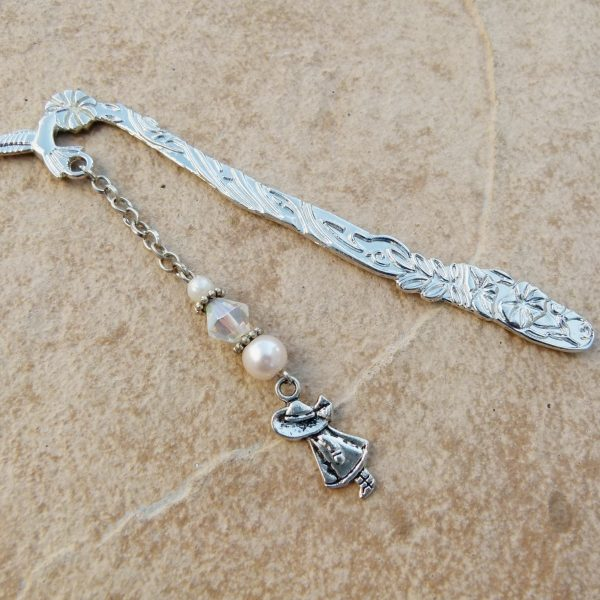 Silver Bookmark with Girl Charm & Crystal