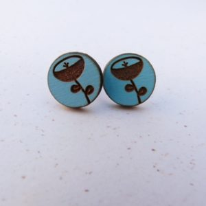 Blue Round Flower Eengraved Earrings