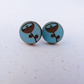 Blue Round Flower Eengraved Earrings