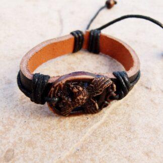 Genuine Leather Bracelet with Stone Eagle