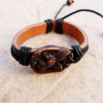 Genuine Leather Bracelet with Stone Eagle