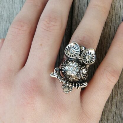 Ladies Adjustable Owl Ring Style 2 on Finger