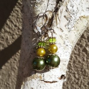 Ladies Earrings with Green Pearl & Crystal Detail Style 2